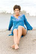 brunet woman in blue - stock photo