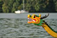 Stock Photo of Head of dragon boat on the water