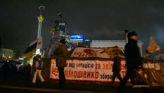 Freedom for Timoshenko placard, Euro maidan meeting in Kiev, Ukraine. Stock Footage