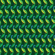 Seamless wallpaper peacock. Stock Illustration