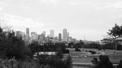 Denver in Black and White with Cars on Highway. Stock Footage