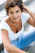 Attractive brunet woman Stock Photos