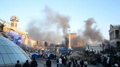 black smog in Kiev, Euro maidan meeting, Ukraine. - stock footage