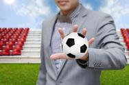 Businessman invest in soccer team, football game concept Stock Illustration