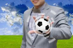 Stock Illustration of football network concept, businessman invest in soccer team