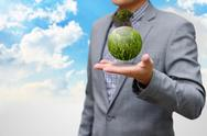 Green business concept, green planet on the hand Stock Illustration