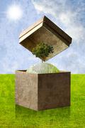 Stock Illustration of green planet in the recycle paper box, sustainable concept