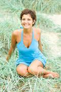 brunet woman - stock photo