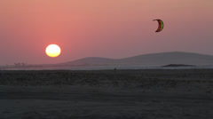 Scenic Sunset and Kiteboarder Stock Footage
