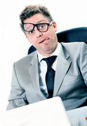 freak out of stressed manager at the office - stock photo