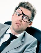 portrait of funny manager stressed at work - stock photo