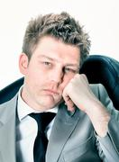 Portrait of  tired businessman at the office Stock Photos