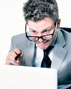 portrait of stressed crazy manager at work - stock photo