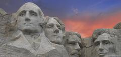Sunset Colors over Mount Rushmore Stock Photos