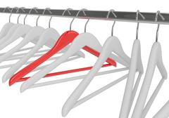 White and red clothes hangers isolated - stock illustration