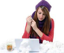 Sick woman.flu.woman caught cold. sneezing into handkerchief. headache. virus Stock Photos