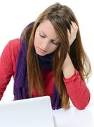 Young beautiful woman with severe headache Stock Photos