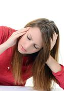 young beautiful woman with severe headache - stock photo
