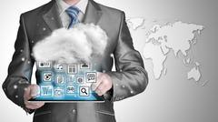 Cloud computing, technology connectivity concept - stock illustration