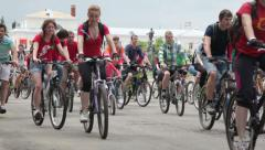 Day of bicycle. Huge group of people are riding a bicycle. Time lapse Stock Footage