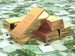 Gold ingots on background from euro banknotes. Stock Illustration