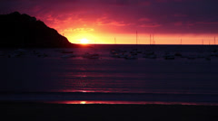 Time Lapse Sunset at San Sebastian Beach Donostia Stock Footage