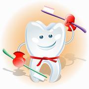 Fighting tooth Stock Illustration