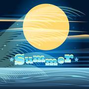 summer night - stock illustration