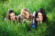 Women grass fun Stock Photos
