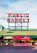famous pike place market sign in seattle - stock photo