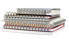 Multi colored Spiral notepads  Stock Photos