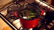 Stock Video Footage of A bunch of asparagus boiling in a red steel bowl full of water