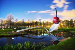 The spoonbridge and cherry at the minneapolis sculpture garden Stock Photos