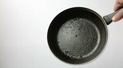 Dirty greasy frying teflon coated pans Stock Footage