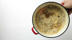 Dirty burned enamel saucepan pot Stock Footage