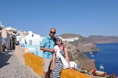 happy young couple tourists in greece - stock photo
