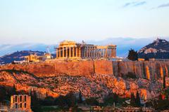 acropolis in athens, greece in the evening - stock photo