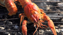 Ultra HD 4K Closeup detail lobster grill cook dish lunch chef fresh smoke food Stock Footage