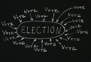 Stock Photo of Elections text conception over black