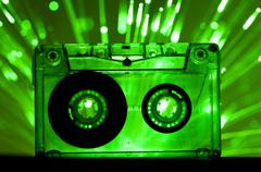 Transparent Cassette tape disco lights background Stock Photos