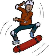 Senior Citizen Skateboarder Stock Illustration