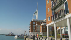 Boating in Portsmouth (Spinnaker Tower in distance) Stock Footage