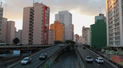 Traffic in the city. Sao Paulo, Brazil. View of the city. Timelapse.  Minhocao. Stock Footage