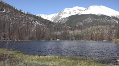 P03636 Lake in Mountains at Rocky Mountain National Park Stock Footage
