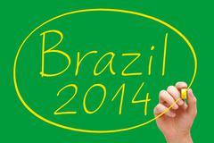 brazil 2014 handwriting - stock illustration