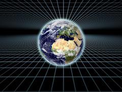 Earth on Grid - stock illustration