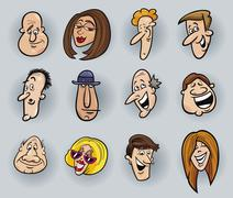 Stock Illustration of Cartoon faces