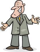 cartoon man in suit - stock illustration