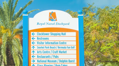 Close-up of Signage of Bermuda's Royal Naval Dockyard Stock Footage