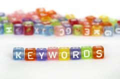 Text Keywords on colorful cubes Stock Photos